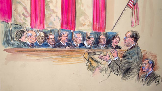 This artist rendering shows Paul Clement addressing the Supreme Court on Wednesday.