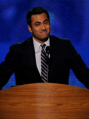Kal Penn, actor and producer, speaks at the Democratic National Convention.