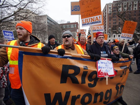 Right to work protest