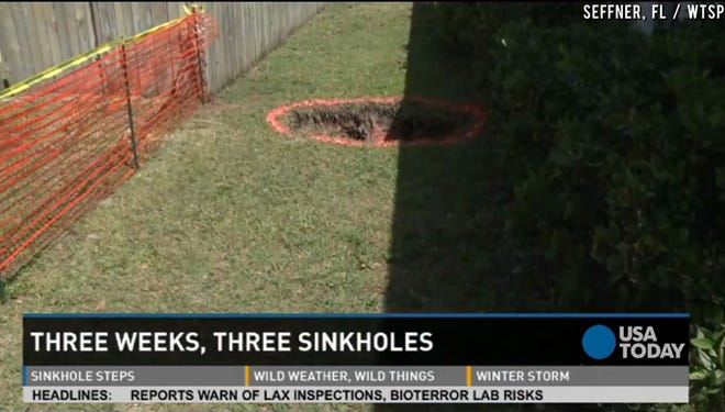 Three weeks, three sinkholes in a Florida town.