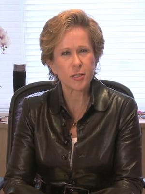 Yeardley Smith, the voice of the animated character Lisa Simpson, in a scene from the video 'A Day in the Life with Yeardley Smith.'