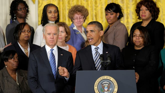 President Obama speaks Thursday in the East Room. The president, joined by Vice President Biden and victims of gun violence,  urged Congress to take action on gun-control legislation.