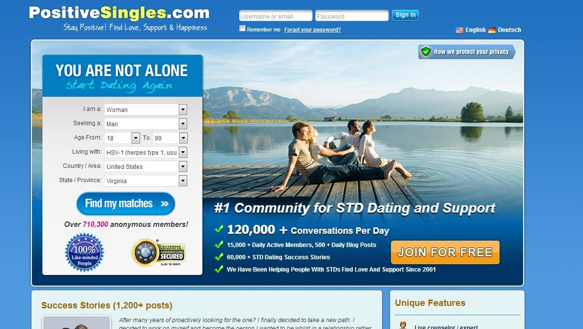 Online dating for people with stds