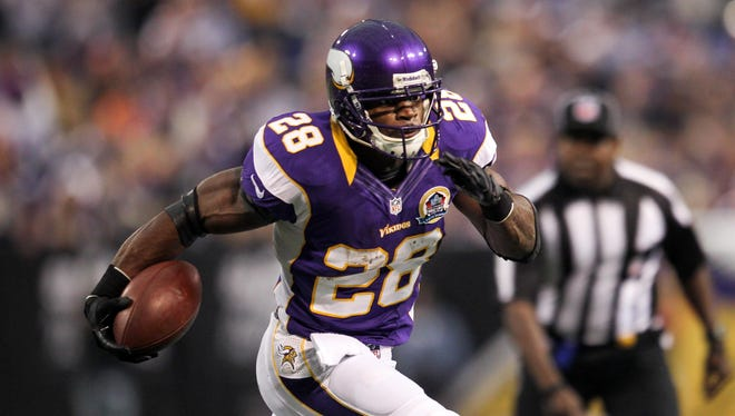 Adrian Peterson has worn this version of the Vikings uniform since entering the NFL in 2007.