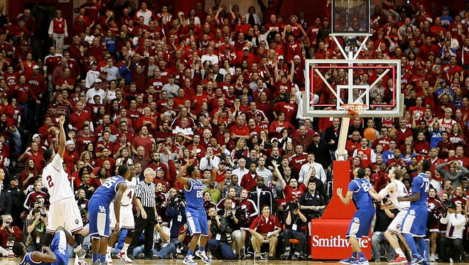 Indiana Hoosiers forward Christian Watford hits a three pointer at the buzzer to defeat the Kentucky Wildcats at Assembly Hall. Indiana defeated Kentucky 73-72.
