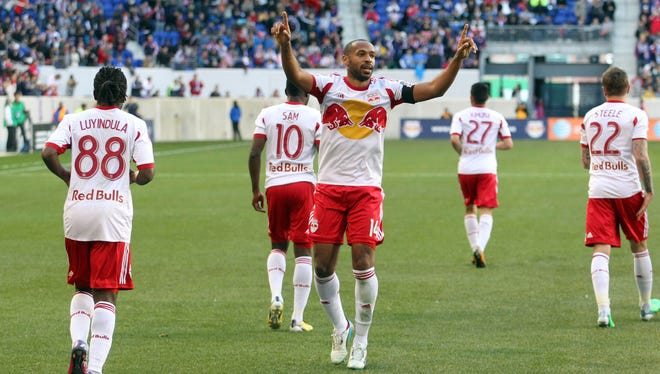 New York Red Bulls forward Thierry Henry celebrates his first goal of the season in a 2-1 win over the Philadelphia Union.