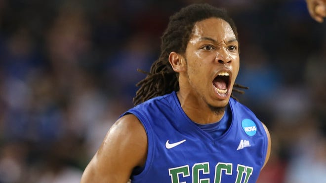 Florida Gulf Coast Eagles guard Sherwood Brown reacts in the Sweet 16 game against Florida.