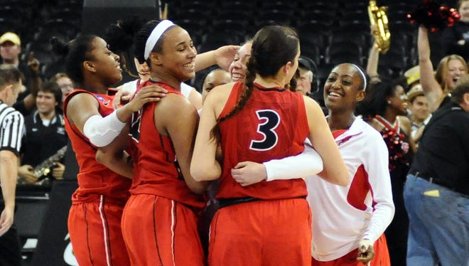 Georgia celebrates its upset win over top-seeded Stanford.