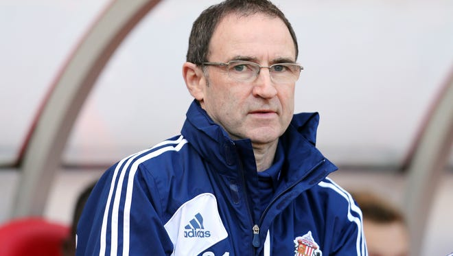 Sunderland's manager Martin O'Neill looks on ahead of their English Premier League soccer match against Manchester United at the Stadium of Light, Sunderland, England, Saturday. O'Neill was fired after a 1-0 loss to Manchester United.