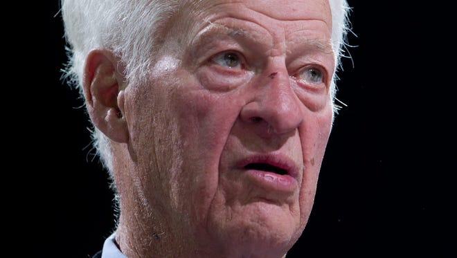 Hockey Hall of Famer Gordie Howe looks on during a pre-game celebration at a Vancouver Giants game in early March.