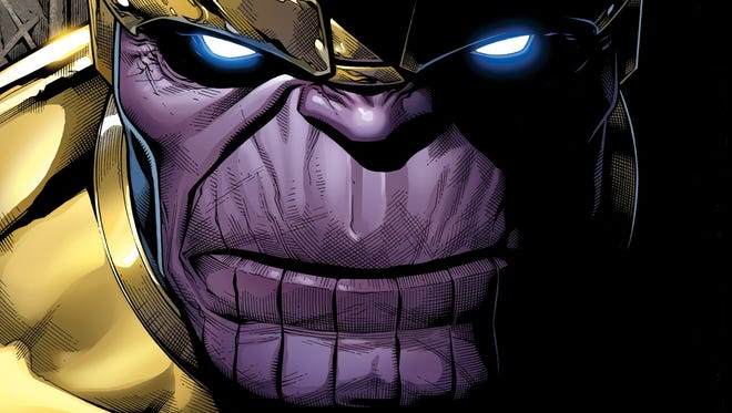 """The cosmic villain Thanos makes his move on Earth while the Avengers are out in space in the Marvel Comics event series """"Infinity."""""""