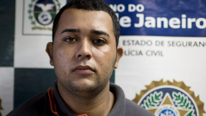 Jonathan Foudakis de Souza at Special Police Unit for Tourism Support after being arrested for allegedly attacking tourists in Rio de Janeiro, Brazil, April 2, 2013.