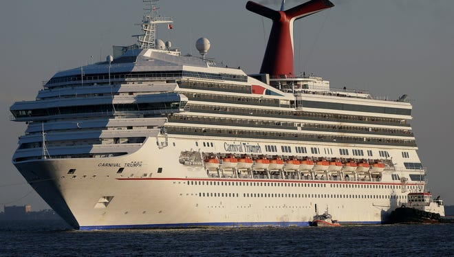 The Carnival Triumph was towed into Mobile Bay, Ala., on Feb. 14, 2013, after an engine fire disabled the cruise ship for five days.