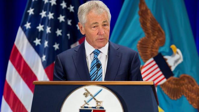 Defense Secretary Chuck Hagel speaks at the National Defense University at Fort McNair in Washington on Wednesday.