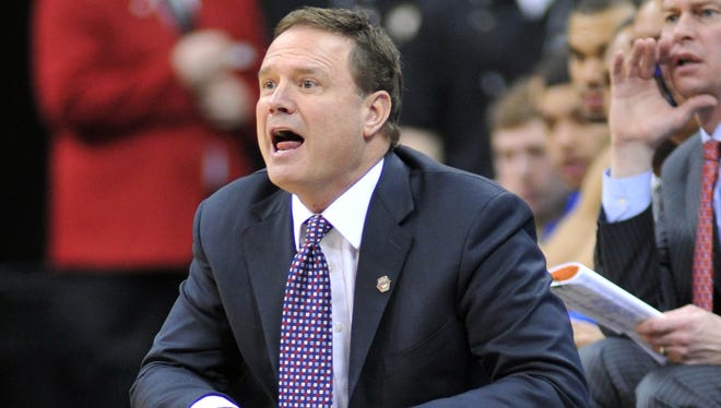 Mar 14, 2013; Kansas City, MO, USA; Kansas Jayhawks head coach Bill Self calls out instructions against the Texas Tech Red Raiders in the first half during the second round of the Big 12 tournament at the Sprint Center. Kansas defeated Texas Tech 91-63. Mandatory Credit: Peter G. Aiken-USA TODAY Sports ORG XMIT: USATSI-126916 ORIG FILE ID:  20130314_jla_sa7_272.jpg