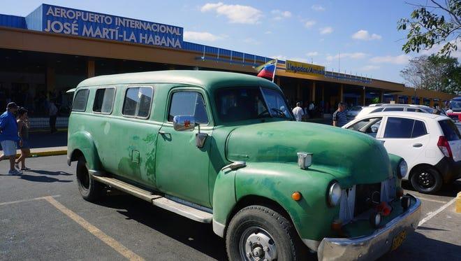 Curbside at Terminal 2 of Havana's Cuba José Martí International Airport.