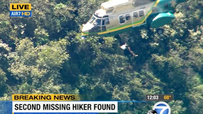 Kyndall Jack, 18, was hoisted out of the Cleveland National Forest, east of Los Angeles, five days after she and a companion became lost while hiking on Easter Sunday. Her friend was rescued Wednesday night.
