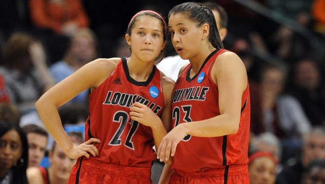 Louisville Cardinals guard Jude Schimmel (22) talks to guard Shoni Schimmel (23) during a break in action against the Tennessee Lady Volunteers in the second half during the finals of the Oklahoma City regional.