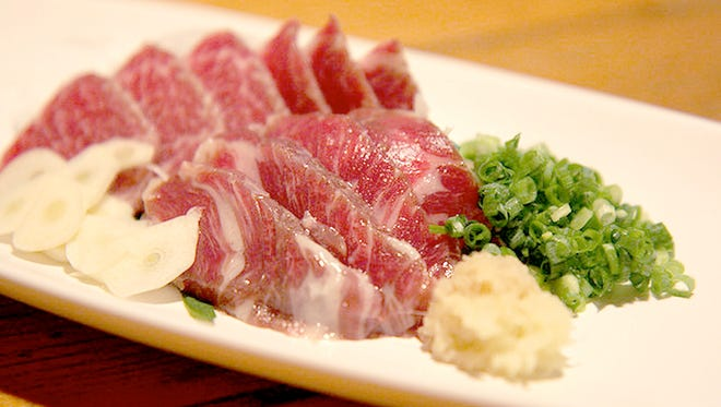 If you were in Japan and were served basashi, you might just assume it was something exotic, but you are actually eating horse. Sakura is the Japanese word for raw horse meat (pictured), and baniku can mean horse meat as well.
