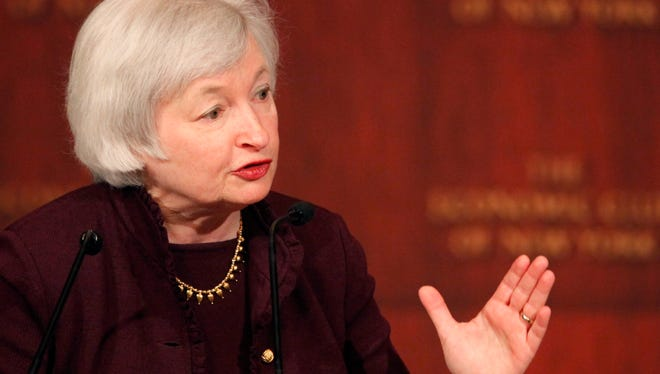 Janet Yellen, vice chair of the Federal Reserve Bank, speaks at the Economic Club of New York in 2011.