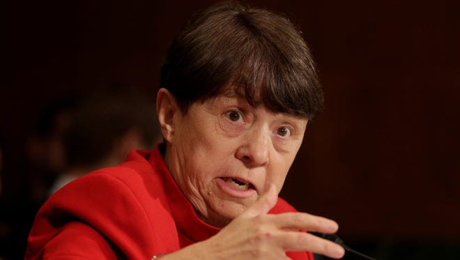 Mary Jo White answers questions during her confirmation hearing before the Senate Committee on Banking, Housing, and Urban Affairs on March 12.