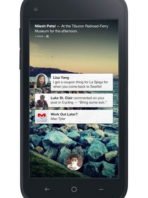 A screenshot of Notifications appearing on Facebook Home.