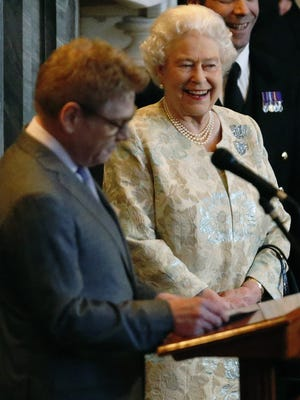 And the BAFTA goes to ... Queen Elizabeth II rgets award from actor Kenneth Branagh for her support of British entertainment industry.
