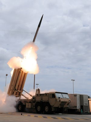 A Terminal High Altitude Area Defense  missile is launched during a 2009  test. The United States will deploy a THAAD missile defense battery on the Pacific island of Guam to defend its bases against North Korean aggression, the Pentagon said.