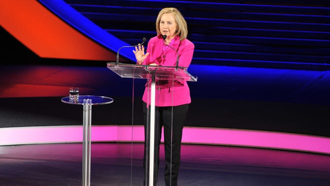 Hillary Rodham Clinton speaks at the annual Women in the World Summit in New York City.
