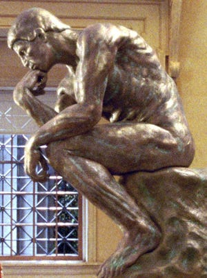 "This reproduction of Rodin's ""The Thinker"" was in a scene from the movie ""Night at the Museum: Battle of the Smithsonian."""