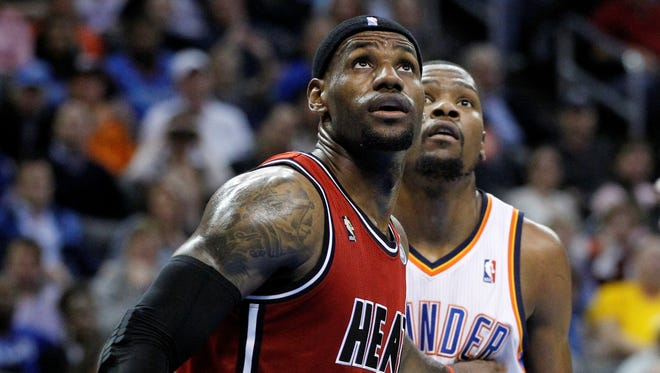 Miami Heat forward LeBron James (6) and Oklahoma City Thunder forward Kevin Durant (35) were named NBA players of the month.