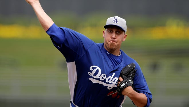 Aaron Harang with the Dodgers during spring training.