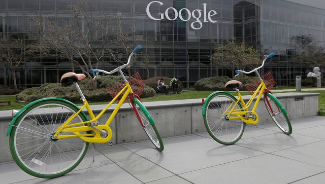 Google bicycles at the Google campus in Mountain View, Calif.
