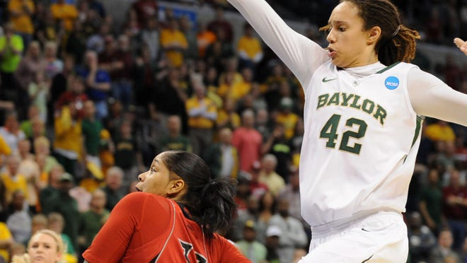 Brittney Griner, seen here in the NCAA loss to Louisville, says she knows if she tries the NBA she'll be in a for a taste of her own medicine.