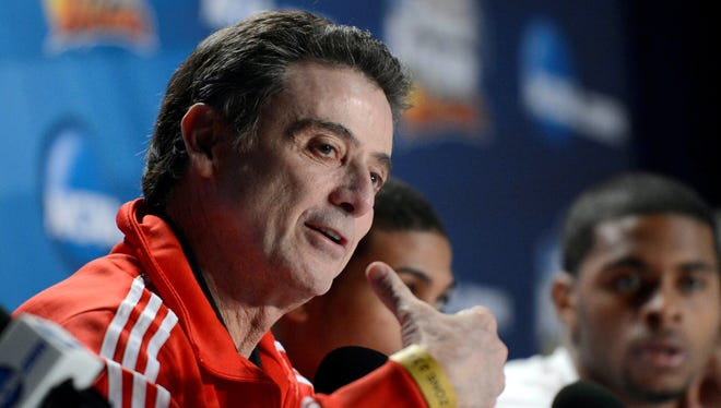 Louisville Cardinals head coach Rick Pitino during a press conference the day before the NCAA title game.