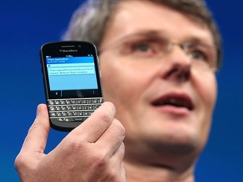 BlackBerry Chief Executive Officer Thorsten Heins displays the BlackBerry Q10 at a launch event in Manhattan in January.