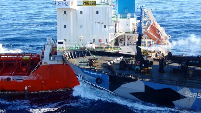On Feb. 25, the Sea Shepherd ship Bob Barker collided with a refueling tanker for the Japanese whaling vessel Nisshin Maru in the Antarctic Sea.