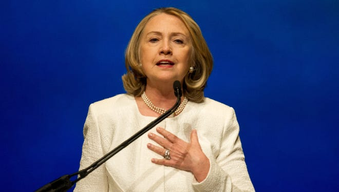 Hillary Clinton addresses the Vital Voices Global Awards ceremony at the Kennedy Center in Washington on April 2.