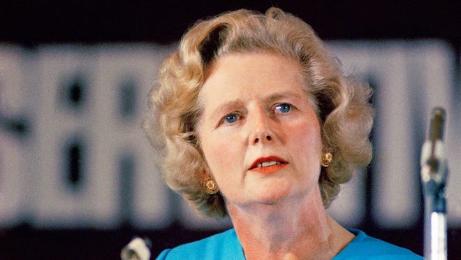 Margaret Thatcher, leading conservative who won the first ballot for leadership that  resulted in Edward Heaths' resignation, speaks in London in February 1975.
