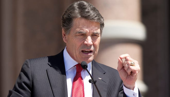 Gov. Rick Perry speaks at a rally at the state Capitol in Austin, Texas., on March 26, 2013.