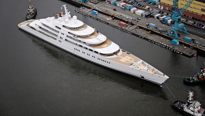 The Azzam, built by Lurssen. At 590 feet, it's  so long, we can't get it all in all the photos.