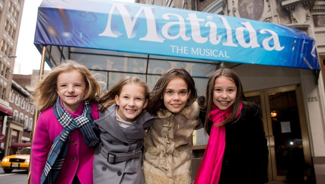 Milly Shapiro, left, Sophia Gennusa, Oona Laurence and Bailey Ryon share the title role in 'Matilda the Musical.'