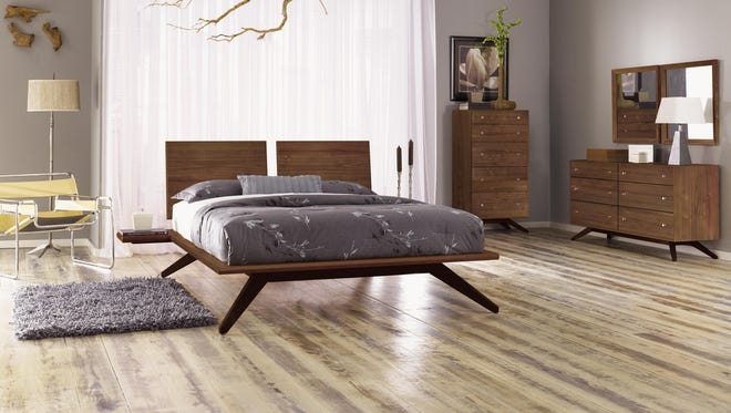 This Astrid bedroom collection, with its dramatic legs and defined edges, is made by Copeland Furniture.