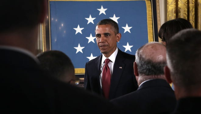 President Obama leaves after a Medal of Honor Ceremony April 11 at the  White House.