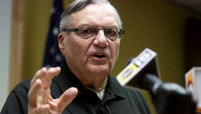 Maricopa County Sheriff Joe Arpaio speaks April 12, 2013, during a press conference at sheriff's headquarters in downtown Phoenix.