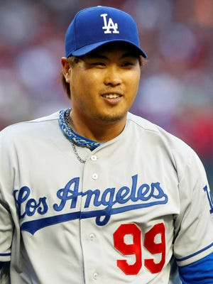 Los Angeles starting pitcher Hyun-Jin Ryu had nine strikeouts and added three hits of his own in the Dodgers win over the Diamondbacks.