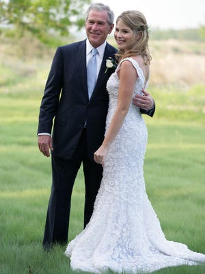 President George W. Bush and Jenna Bush pose for a photographer prior to her wedding to Henry Hager at Prairie Chapel Ranch on May 10, 2008, near Crawford, Texas.