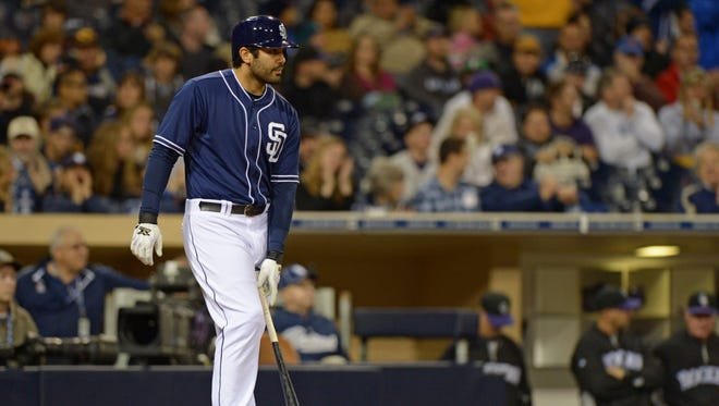 Carlos Quentin prepares to pinch-hit Saturday night, his only at-bat before he opted to serve an eight-game suspension for charging the mound.