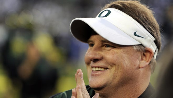 Chip Kelly left Oregon to become the coach of the Philadelphia Eagles in January.