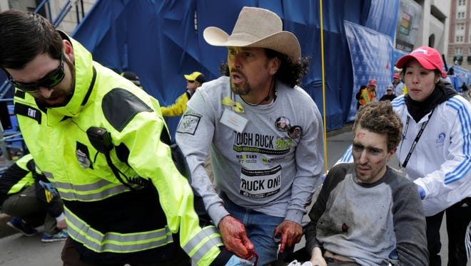 Jeff Bauman Jr., 27, was hurt in the Boston Marathon explosions and had to have both legs amputated, his father said.